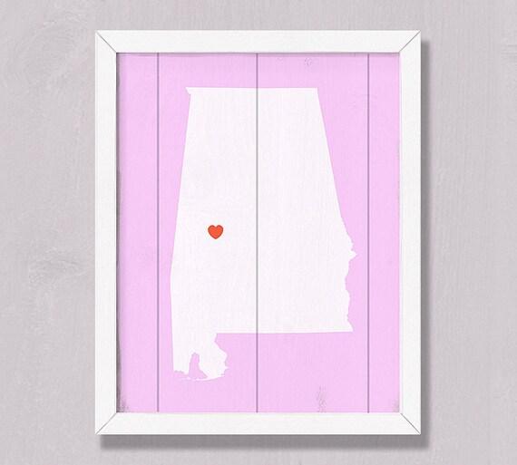 "Alabama - Rustic home decor 16""x20"" Handmade Custom Sign - Wedding gift Housewarming gift Bridal shower gift"