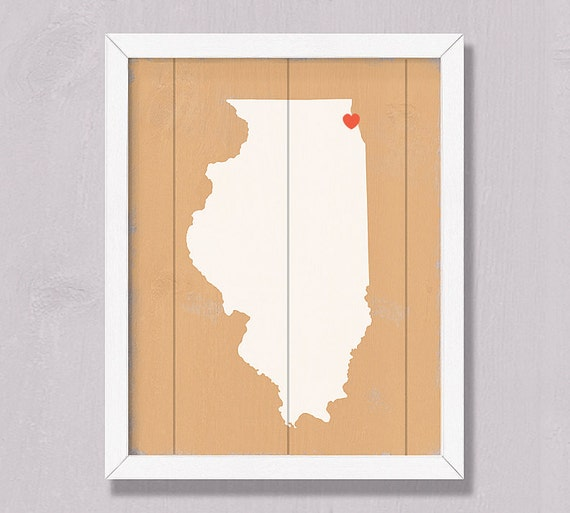 ILLINOIS Home decor - Rustic wall hanging -16x20 Handmade Wood Personalized Sign Custom Heart Wedding Housewarming Bridal shower Family gift