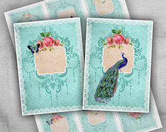 Greeting Cards 2.5x3.5 inch - Digital Collage Sheet - Printable Cards - Instant Download - Jewelry Holders - Paper Goods - ANTIQUE CARDS