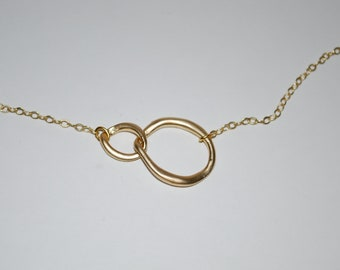 Modern, linked eternity necklace in matte gold, simple jewelry, gift, anniversary,