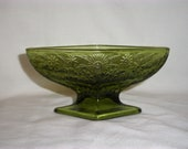 VINTAGE GREEN Pressed Galss DIAMOND Shaped Footed Bowl