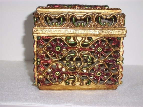 Vintage Decorative Christmas Trinket Box Gold Green Red