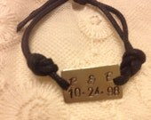 Silver Tag tie on bracelet/ Personalized with initials/date