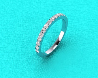 14K white gold French pave' band