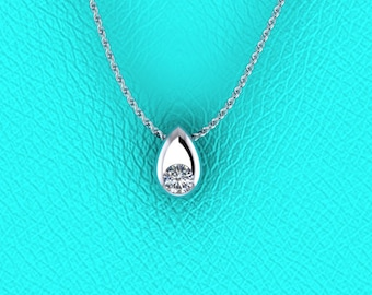 14K white gold 0.25ct pear shape Diamond pendant
