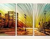 Modern Abstract Painting Metal Wall Art Sculpture Cityscape Sunset City