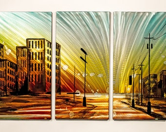 Modern Abstract Painting Metal Wall Art Sculpture Cityscape Sunset City