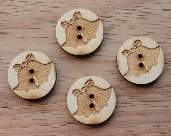 4 Craft Wood Bells.Round Buttons, 2.5 cm Wide, Laser Cut Wood