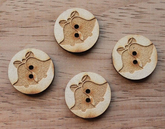 4 Craft Wood Bells.Round Buttons, 2.5 cm Wide, Laser Cut Wood