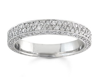 Ladies 18kt White Gold Pave Diamond Double Row Wedding Band 100 Ctw G VS2