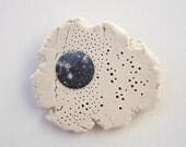 Planet Nebula brooch. White Stoneware. Handmade.