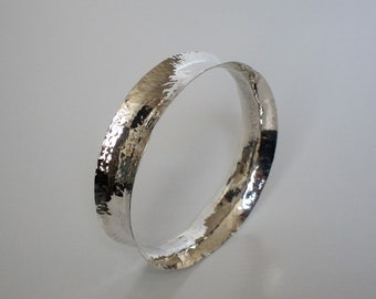 Hammered Sterling Silver Concave Bangle