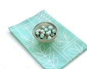Tea Towel Mint Green Aqua Botanical Print - MiscellanyWay