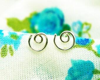 Spiral post earrings, infinity silver stud earrings, spiral earrings, tiny post earrings, spiral earrings, everyday post earrings
