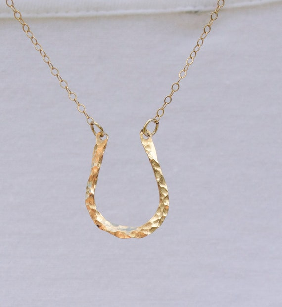 Horseshoe Necklace, Gold, Silver, Hammered, Pounded, textured, Minimalist Jewelry