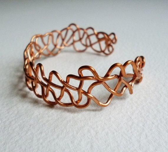 Wire Wrapped Bracelet Cuff Copper Wire Hand Formed