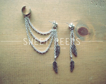 Silver Ear Cuff Set with Falling Feathers Charms