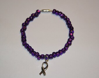 Purple Bracelet with Hope Charm.