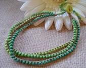 GREEN ACRES boho, Bohemian, Hippie-chic, Beachy,  Triple strand Anklet/bracelet  beaded