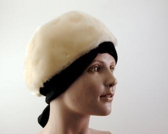 Vintage Saks Fifth Avenue Faux Fur Cap With Black Tie circa 1950's - 1960's