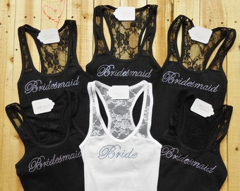 6 Bridesmaid Lace Tank Tops. Maid of Honor, Bridal Entourage, Brides Crew, Mother of the Groom. Bachelorette Party Lace Shirts.