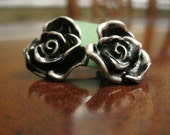 Silver Rose Earring Studs