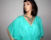 Turquoise caftan, cotton sun dress, beach cover up, lounge wear, boho gypsy dress  FREE SIZE
