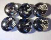 Black Lace Tiny Magnet Set of Six