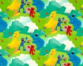 Sesame Street flannel fabric - Elmo, Big Bird, Grover, Oscar the Grouch and Cookie Monster in the park LAST YARD