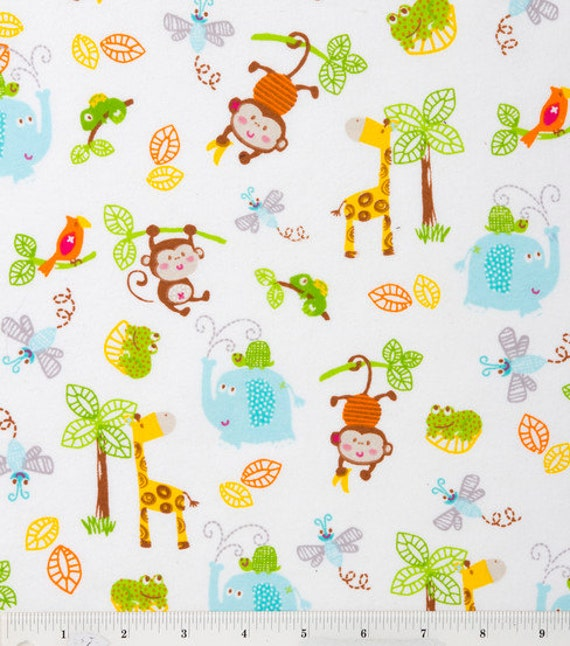 Jungle Pals Flannel Fabric - elephant, giraffe, monkey, chameleon, turtle, frog, parrot  - YARD