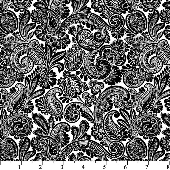 Black and white paisley fabric black floral scroll flourish