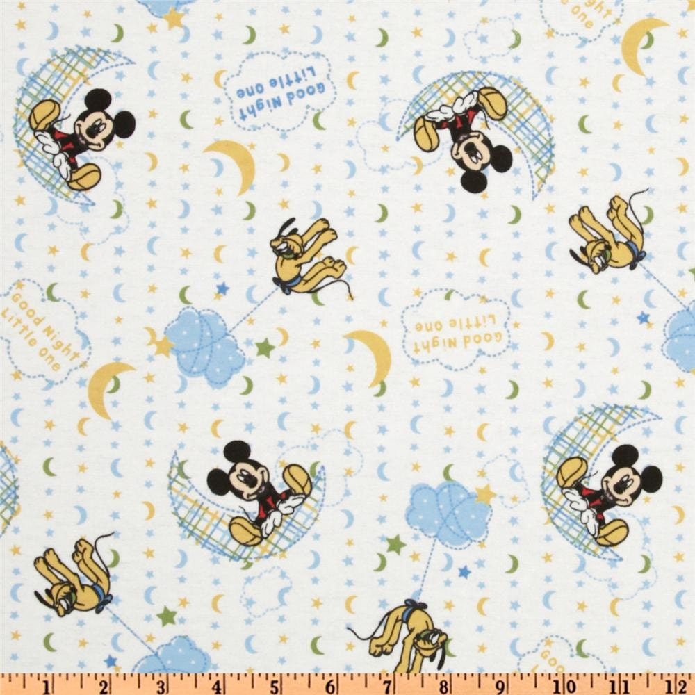 Mickey mouse flannel fabric goodnight little one mickey for Moon and stars fleece fabric