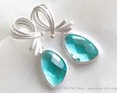 Aquamarine Blue Earring, Silver Cubic zirconia earring with blue quartz (E043)