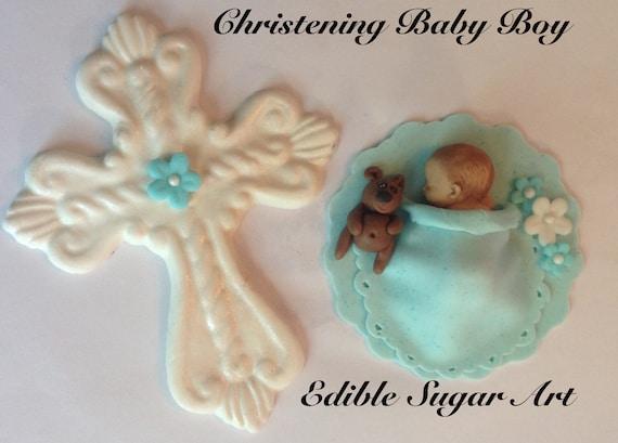 Gum Paste CHRISTENING BABY Cake Topper Christening Gown