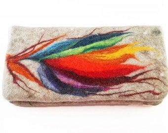 Felted Clutch Wallet  Bag Felt Nunofelt Nuno felt Rainbow Fairy Fantasy Folk Boho Silk Wool