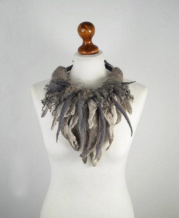 Felted Collar Grey Collar felt Necklace RAW WOOL art jewerly nunofelt Sophisticated collar Art deco silk Fiber Art boho