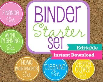 EDITABLE and INSTANT DOWNLOAD-Home Binder Starter Set--Home Organization Starter Kit-Starter Pack of my Most Popular documents