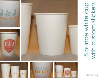 8 oz - 50 Paper Cups with Custom Label