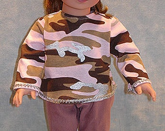 18 Inch Doll Clothes - Pink Camo Top and Mauve Pants Set made to fit 18 inch dolls
