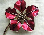 Vintage Rare Marcel Boucher Brooch Poinsettia Flower Pin Red Enamel