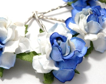 Two Tone White & Blue Rose Floral Hair Clip Set/ Unique/ Bridal/ Wedding Hair Accessories/ Bridesmaid Bobby Pin/ Wedding Flower Clip