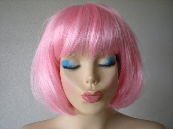 Pink Wig Short Candy Pink Wig Pink Bob Hair Wig By Kekewigs