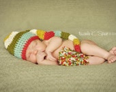 PATTERN Crochet Long Striped Elf Hat 4 Sizes Newborn to Toddler