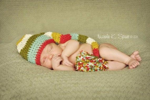 PATTERN Crochet Long Striped Elf Hat 4 Sizes Newborn to Toddler