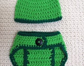 Hand Crocheted Newborn Hat & Diaper Cover-Ready To Ship