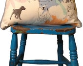 Harvey & Pepper Dog Print Pillow Cushion - Hand Pulled Screen Print on 80s Designer Fabric.