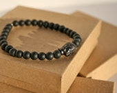 8inch 6mm black dull beaded bracelet with silver finished Buddha head