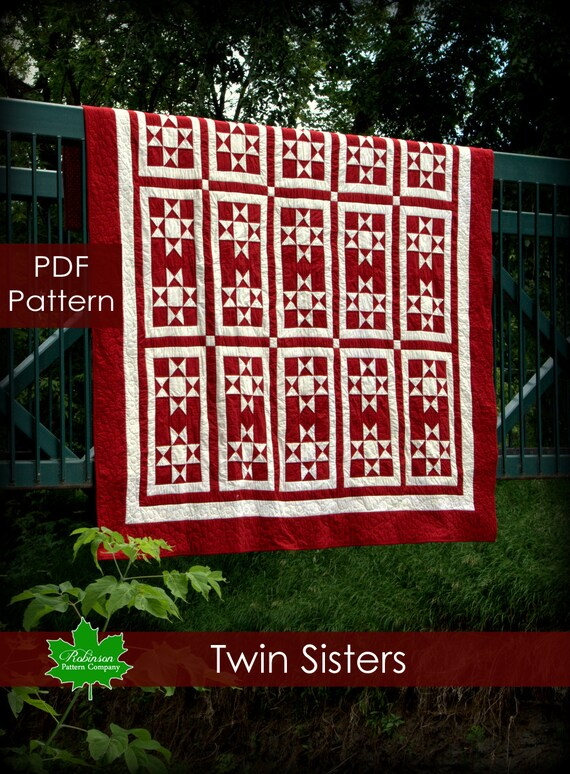 Twin Sisters quilt pattern - PDF instant download of a modern twist on a traditional two color Ohio star quilt pattern