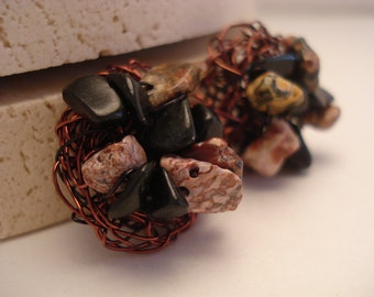 Brown and Black Semi-Precious Stone Button Earrings-Jewelry by Jewels of Capri