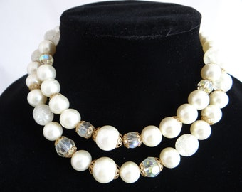 Vintage Double Strand Faux Pearl and Bead Necklace